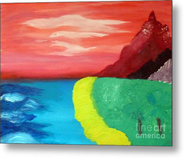 Red Mountain By The Sea Metal Print