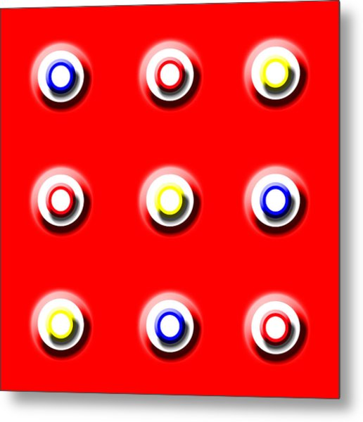 Red Nine Squared Metal Print