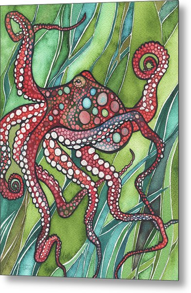 Red Octo Metal Print