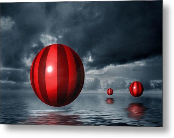 Red Orbs Metal Print by Judi Quelland