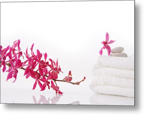 Red Orchid With Towel Metal Print by Atiketta Sangasaeng