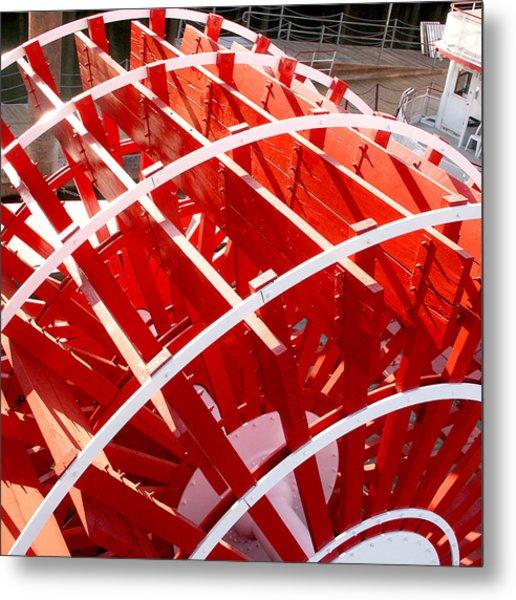 Red Paddle Wheel Metal Print