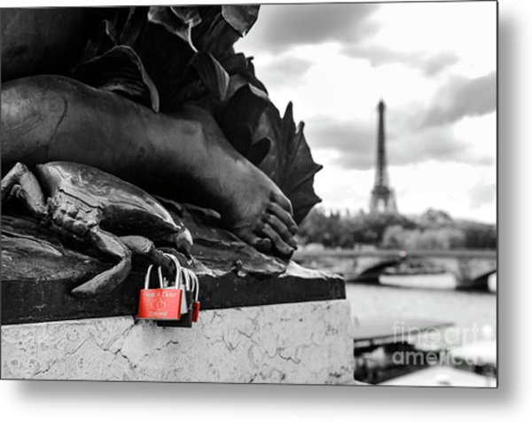 Red Padlocks In Paris Metal Print
