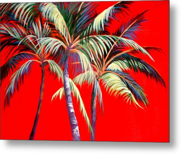 Red Palms Metal Print
