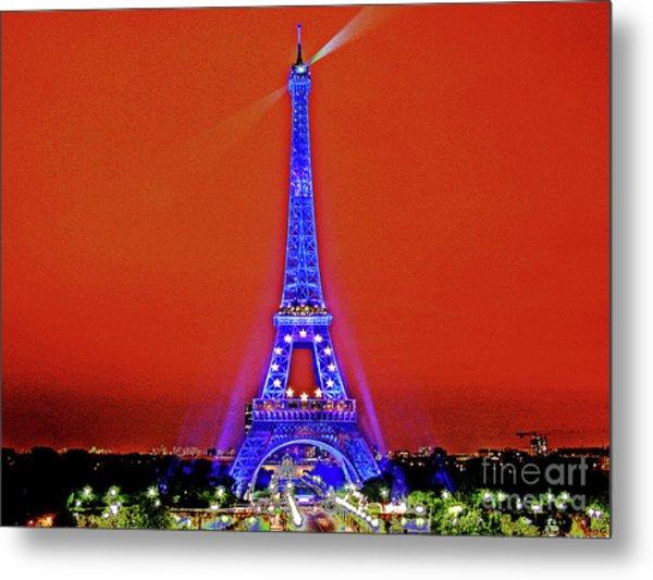 Red Paris Sunset  Eiffel Tower Metal Print