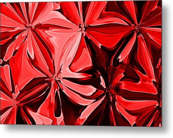 Red Pinched And Gathered Metal Print