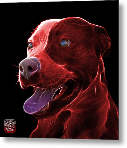 Red Pit Bull Fractal Pop Art - 7773 - F - Bb Metal Print