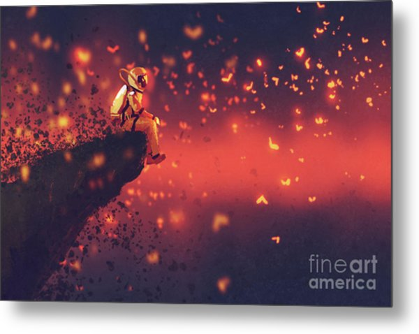Metal Print featuring the painting Red Planet by Tithi Luadthong
