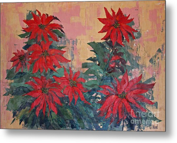 Red Poinsettias By George Wood Metal Print