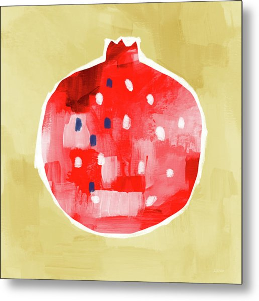 Red Pomegranate- Art By Linda Woods Metal Print