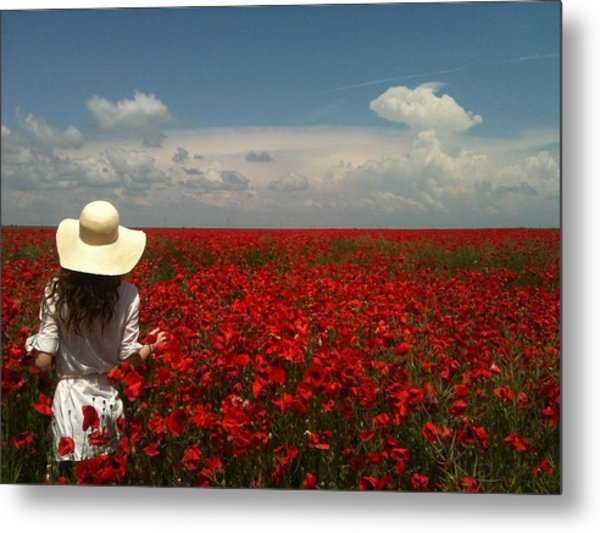 Red Poppies And Lady Metal Print