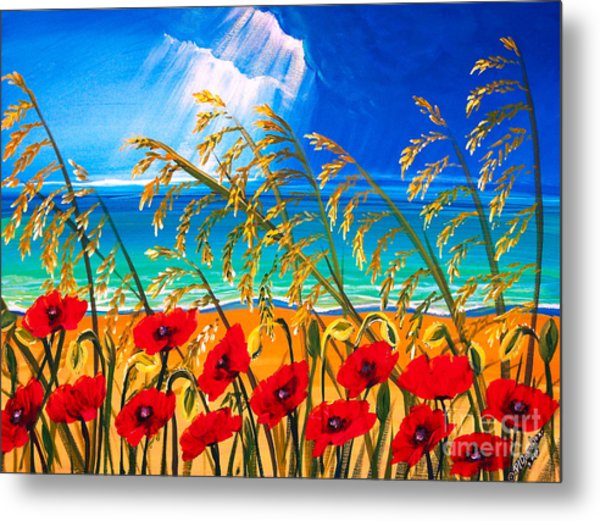 Red Poppies And Sea Oats By The Sea Metal Print