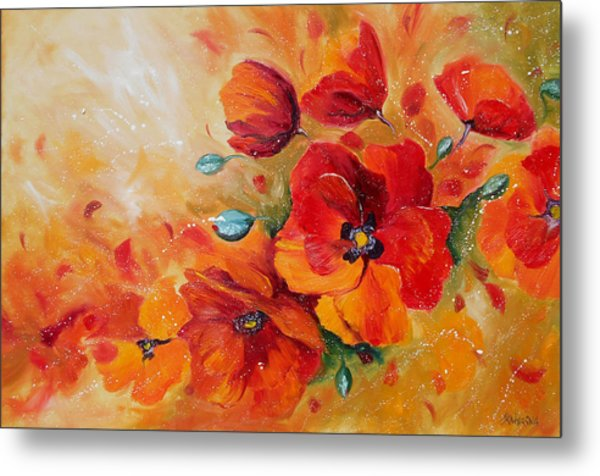 Red Poppies Impressionist Abstract Painting By Artist Ekaterina Chernova Metal Print
