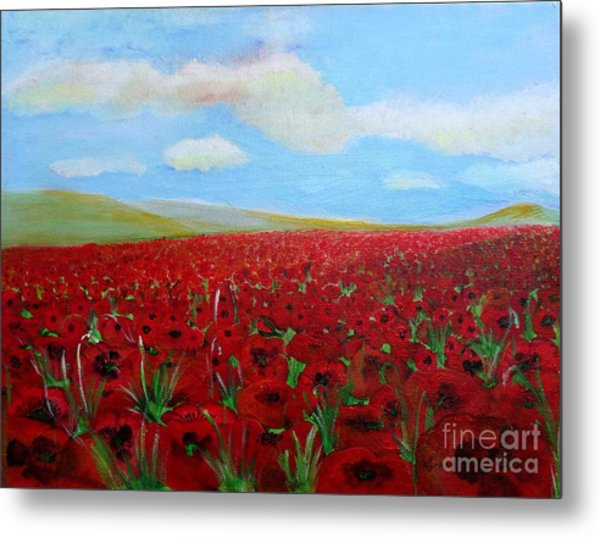 Red Poppies In Remembrance Metal Print
