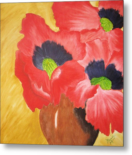 Red Poppies Metal Print by Maris Sherwood