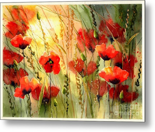 Red Poppies Watercolor Metal Print