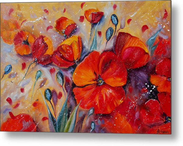 Red Poppy Meadows Metal Print