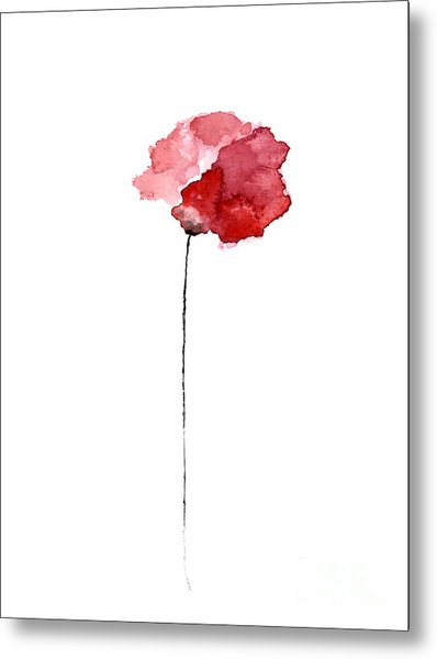Red Poppy Watercolor Minimalist Painting Metal Print