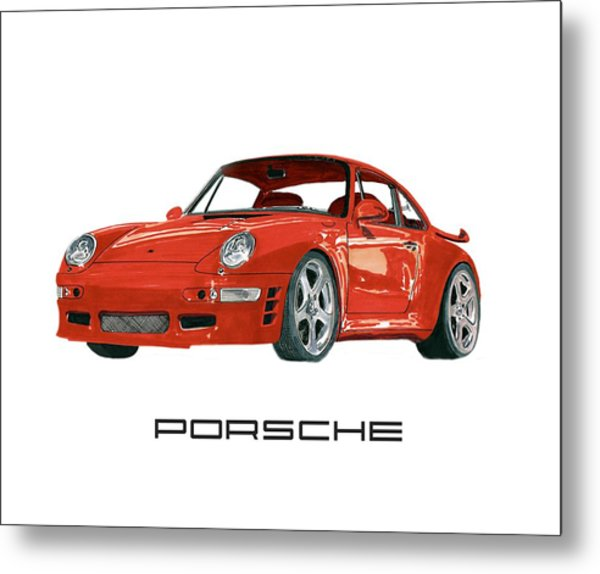 Red Porsche 993 1997 Twin Turbo R Metal Print