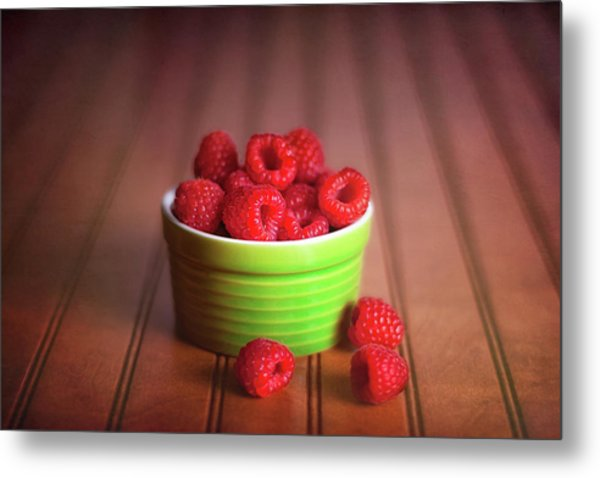 Red Raspberries Still Life Metal Print