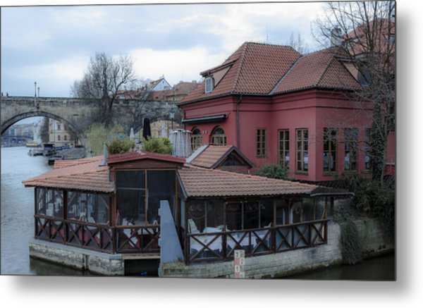 Red Restaurant On Vltava River Metal Print by Marek Boguszak
