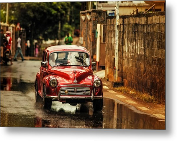 Red Retromobile. Morris Minor Metal Print