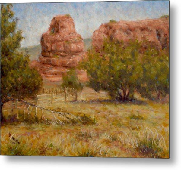 Red Rocks Below Jemez Springs Metal Print by Donelli  DiMaria