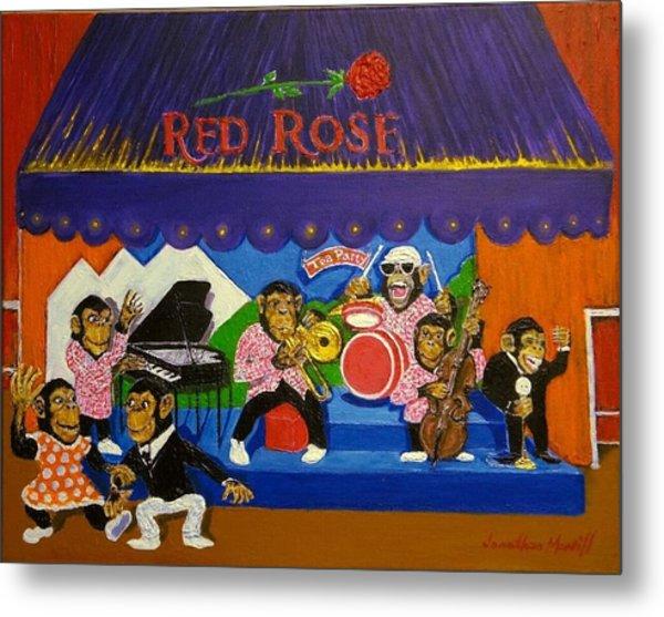Red Rose Tea Chimpanzees Metal Print