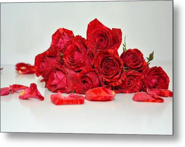 Red Roses And Rose Petals Metal Print