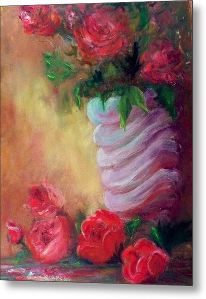 Red Roses For A Blue Vase Metal Print by Lynda McDonald