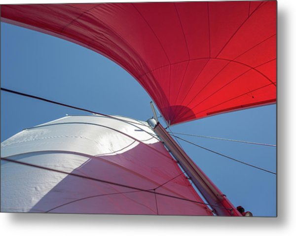 Metal Print featuring the photograph Red Sail On A Catamaran 3 by Clare Bambers
