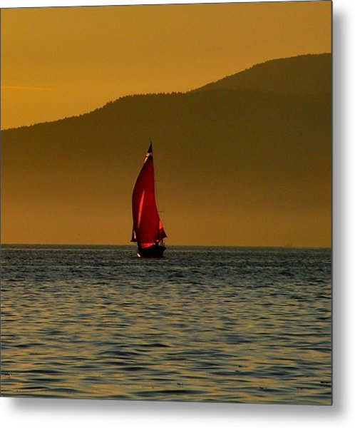 Red Sailboat Metal Print