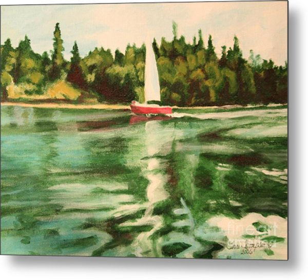 Red Sailboat North End Of Harstene Island Metal Print
