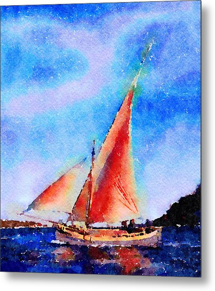 Metal Print featuring the painting Red Sails Delight by Angela Treat Lyon