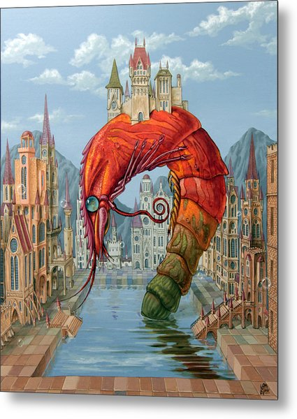 Red Shrimp Metal Print