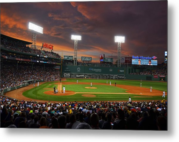 Red Sky Over Fenway Park Metal Print