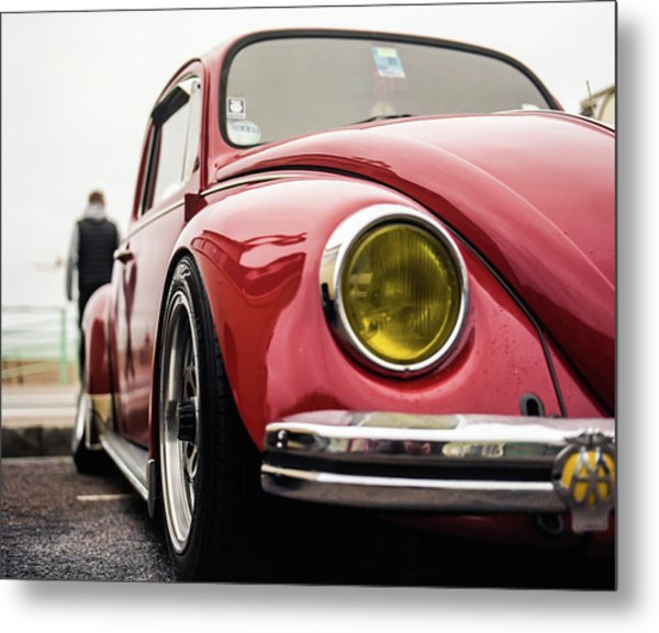 Metal Print featuring the photograph Red Slammed Vw Beetle by Will Gudgeon