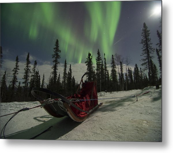 Red-sled Aurora Metal Print