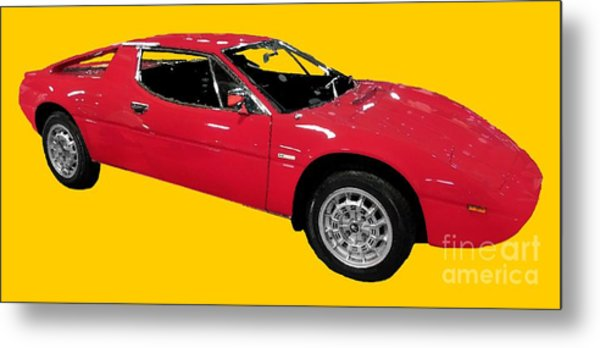 Red Sport Car Art Metal Print