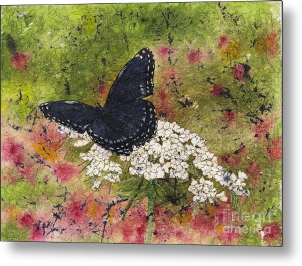 Red Spotted Purple Butterfly Queen Annes Lace Batik Metal Print