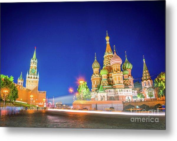 Red Square At Night Metal Print