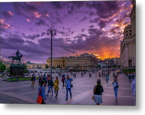Red Square At Sunset Metal Print