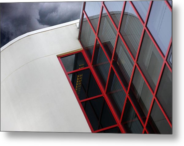 Red Squares Metal Print by Rebecca Cozart