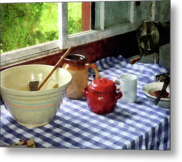 Red Sugar Bowl Metal Print
