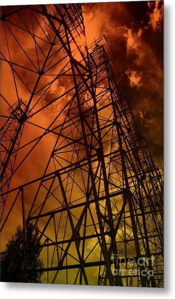 Red Sun Oil Well Metal Print