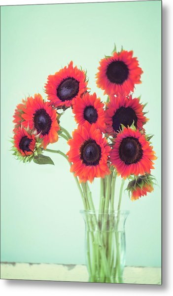 Red Sunflowers Metal Print