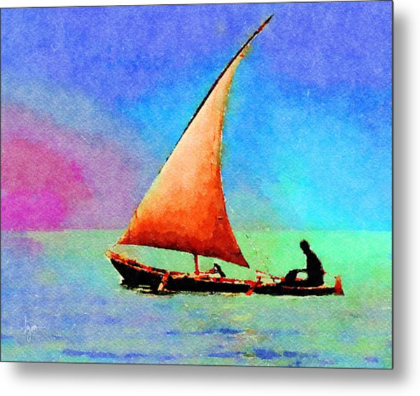 Metal Print featuring the painting Red Sunset by Angela Treat Lyon