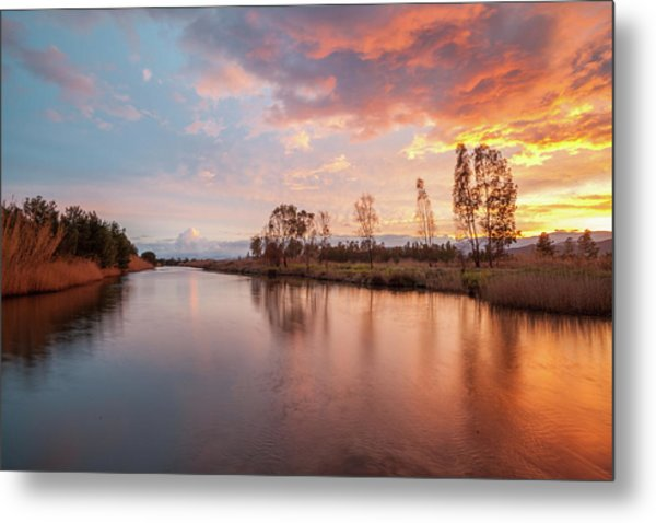 Red Sunset On The Pond Metal Print