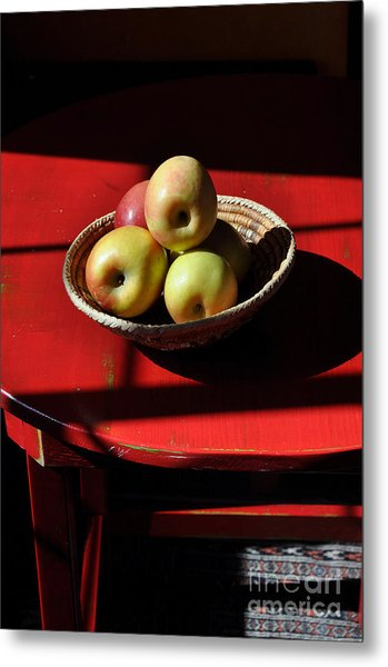 Red Table Apple Still Life Metal Print