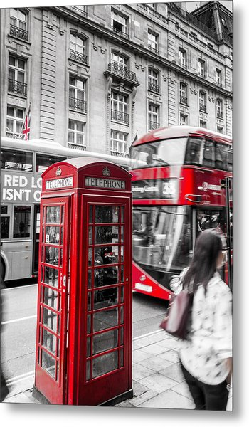 Red Telephone Box With Red Bus In London Metal Print